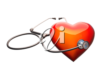 Stethoscope on the heart. Stethoscope on the heart isolat on white background.