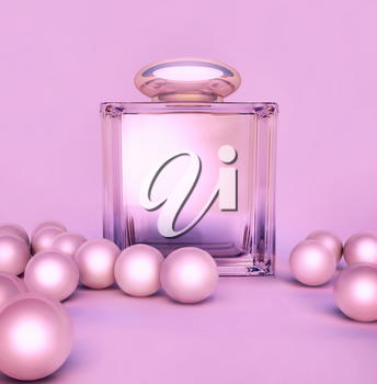 Perfume in a glass bottles and pearl beeds on lilak.