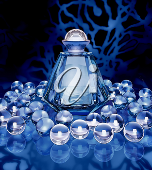 Crystal bottle of perfume and crystal spheres on a dark blue background.