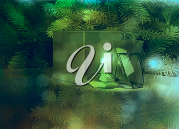 Perfume and gift box on fir tree background.