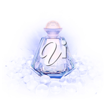 Perfume in a glass bottles and pearl beeds on white.
