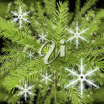 Christmas Tree and snowflakes, abstract background.