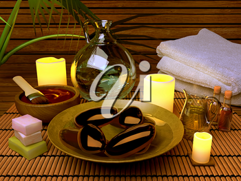 Pampering. Spa procedures with essence oil, natural soap, soft towel.