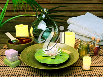 Spa treatment. Spa Setting with Essence Oil,Natural Soap,Soft Towel and candles.