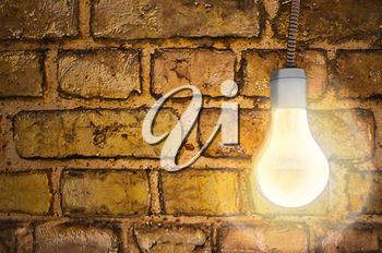 Bulb, background, old brick wall, light, wire, 3D render.
