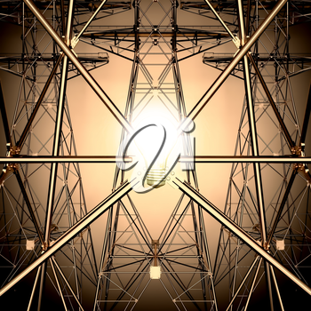 The light bulb on the background of the Electricity pylons.