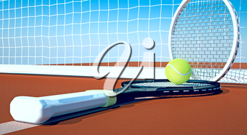 Tennis; racket; tennis clay court, sky