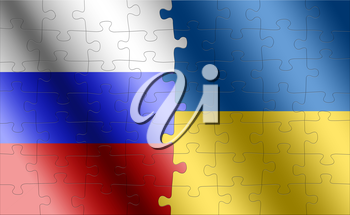 puzzle with the national flag of russia and ukraine on a world map background. 3D illustration