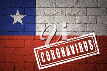 Flag of the Chile on brick wall texture. stamped of Coronavirus. Corona virus concept. On the verge of a COVID-19 or 2019-nCoV Pandemic. Novel Chinese Coronavirus outbreak