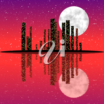 City skyline at night with moon and with reflection in the water.