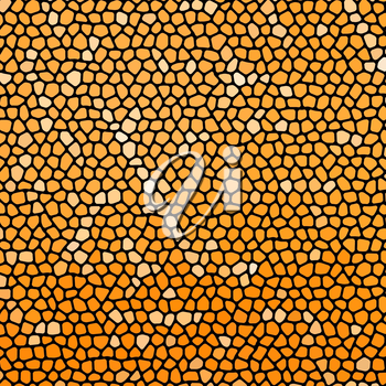 Abstract orange stone mosaic with black joints. Square aspect ratio.
