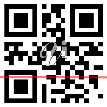 QR Code with scanning red line.