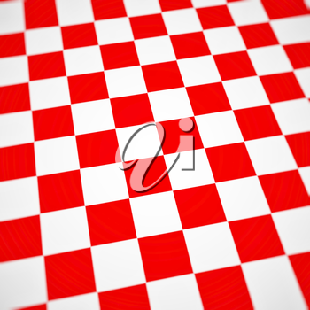 Red checkerboard background bent or warped perspective view.