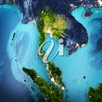 Thailand, Indonesia. Elements of this image furnished by NASA. 3D rendering