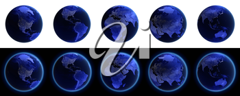Earth icons set on black and white. Elements of this image furnished by NASA 3d rendering