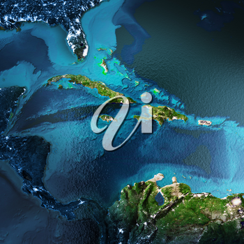 Caribbean Region. Elements of this image furnished by NASA. 3D rendering