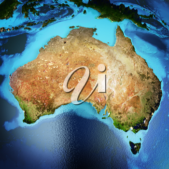 Australia. Elements of this image furnished by NASA. 3D rendering