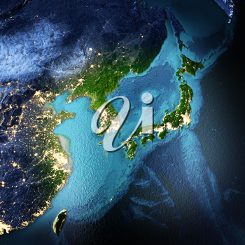 Japan, Korea, China, Taiwan. Elements of this image furnished by NASA. 3D rendering