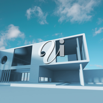 Modern building structure. Building design and 3d rendering model my own