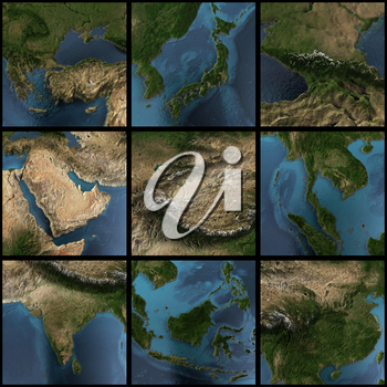 Asia map set. 3d rendering landscape, shadows, transparent water. Earth map courtesy NASA