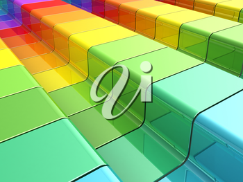 Colorful rainbow. 3d render of rainbow shapes