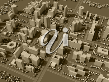 3d rendering map of city in sepia tones