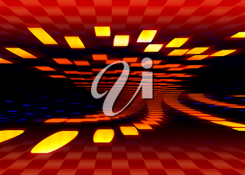 Abstract red and yellow sci-fi background with square grid and perspective. Illustration of speed and motion.