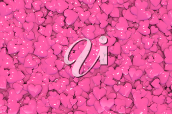 Valentine's Day abstract 3D illustration or background pattern with shiny pink or rosy hearts.