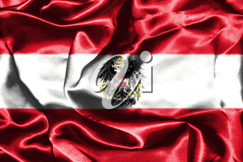 Austrian Flag Grunge Looking With Coat Of Arms Eagle Emblem