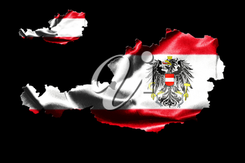 Map of Austria with national flag isolated on black  background With Coat Of Arms Eagle Emblem