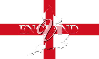 Flag of England With Map and Country Name On It On It 3D illustration