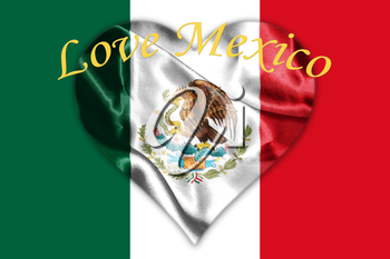 Mexican National Flag With Eagle Coat Of Arms and Text. Love Mexico, 3D Rendering