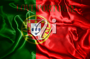 Portugal National Flag With Text Love Portugal On It 3D illustration