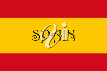 Spanish National Flag With Country Name Written On It 3D illustration