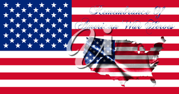 Memorial Day United States of America .Flag With Map of America and Text Remembrance of American War Heroes 3D illustration