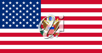 United States of America Flag With Eagle Coat Of Arms 3D illustration