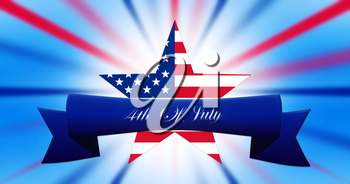 Happy 4th of July.  Independence Day, Star With United States of America Flag on Abstract Background  illustration
