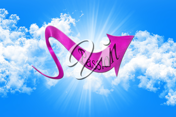 Sex Concept. Arrow With Passion Written On It Showing The Way On Sky and Clouds Background 3D illustration