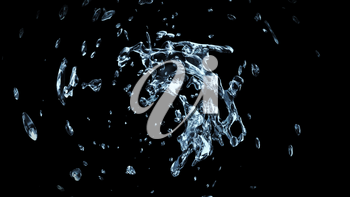 Watersplash On Black Background 3D Rendering
