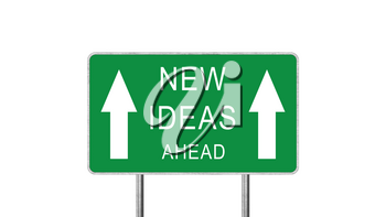 New Ideas Ahead Green Road Sign Isolated On White Background. Business Concept 3D Rendering