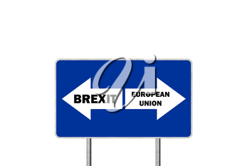 Brexit, or European Union. Road sign With Arrows Depicting UK and EU Departure