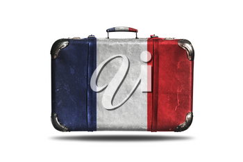 Travel Vintage Leather Suitcase With Flag Of France Isolated On White Background