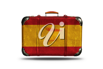 Travel Vintage Leather Suitcase With Flag Of Spain and Spanish Country Map Isolated On White Background