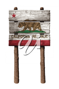 California Republic Flag On Wooden Boards Sign Isolated On White Background