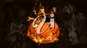 Halloween Pumpkin, Jack O' Lantern Burning in Flames in a Haunted, Scary Ambient With Grim Reaper and Skeletons