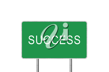 Success Green Road Sign Isolated On White Background. Business Concept 3D Rendering