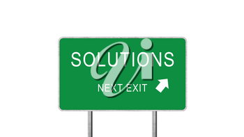 Solutions Next Exit Green Road Sign With Direction Arrow Isolated On White Background. Business Concept 3D Rendering