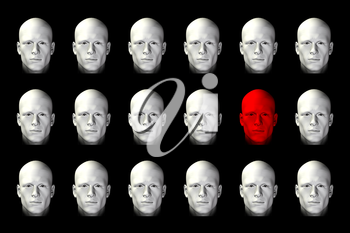 Face standing out from the crowd concept. 3d digitally created illustration.