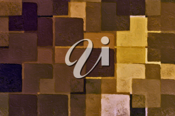 Abstract brown squares digital illustration. Brush paint background.