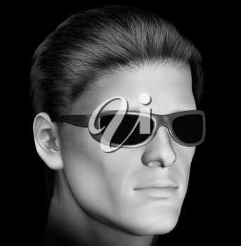 Man with dark sunglasses 3d illustration. Black and white.